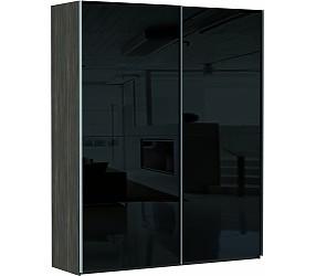 ЭСТА 2-х дверный 8 черных, белых стекол - шкаф-купе
