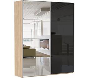 ЭСТА 2-х дверный зеркало/стекло черное, белое - шкаф-купе