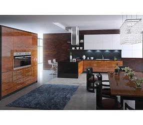 Разные коллекции кухонь с фасадами из пластика и акрила