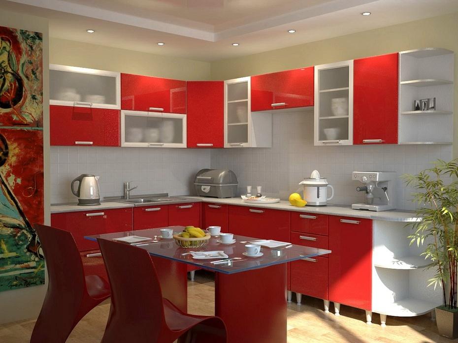 Кухни с красными фасадами фото